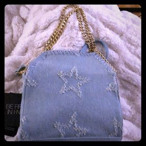 INC LIGHT BLUE DENIM W STARS CROSSBODY CLUTCH BAG
